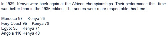 In 1989, Kenya were back again at the African championships. Their performance this  time was better than in the 1985 edition. The scores were more respectable this time: