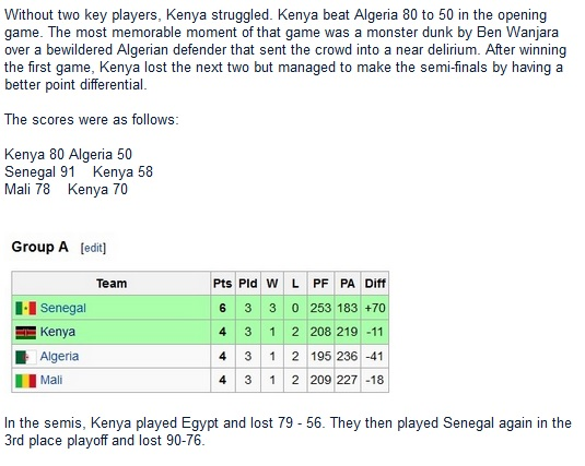 Without two key players, Kenya struggled. Kenya beat Algeria 80 to 50 in the opening game. The most memorable moment of that game was a monster dunk by Ben Wanjara over a bewildered Algerian defender that sent the crowd into a near delirium. After winning the first game, Kenya lost the next two but managed to make the semi-finals by having a better point differential.