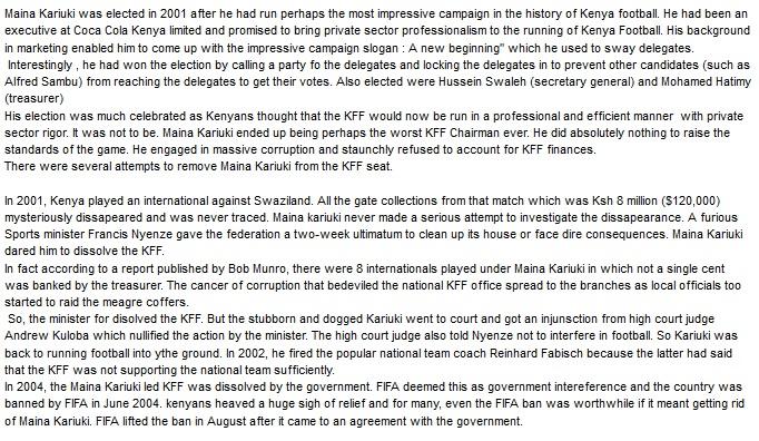 Maina Kariuki Kenya Football