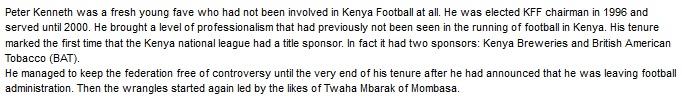 Peter Kenneth Kenya Footall