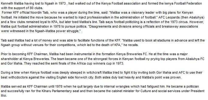 Kenneth Matiba Kenya Football