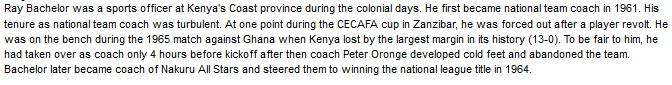 Ray Bachelor Kenya coach