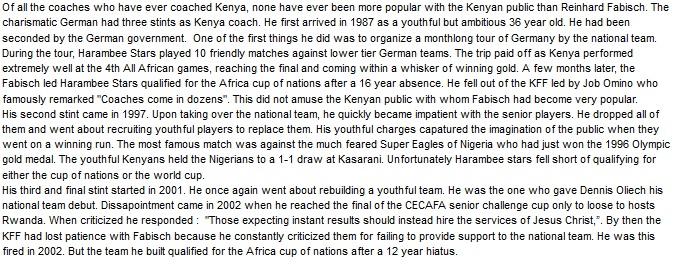 Reinhard Fabisch Kenya coach