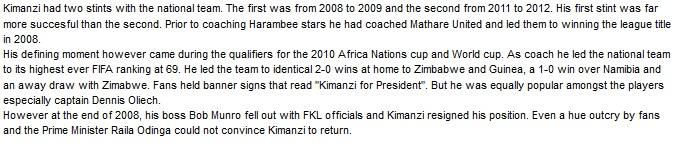 Francis Kimanzi Kenya coach