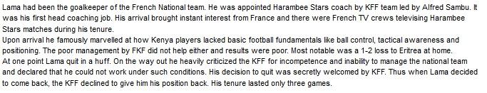 Bernard Lama Kenya coach