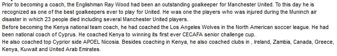 Ray Wood Kenya coach