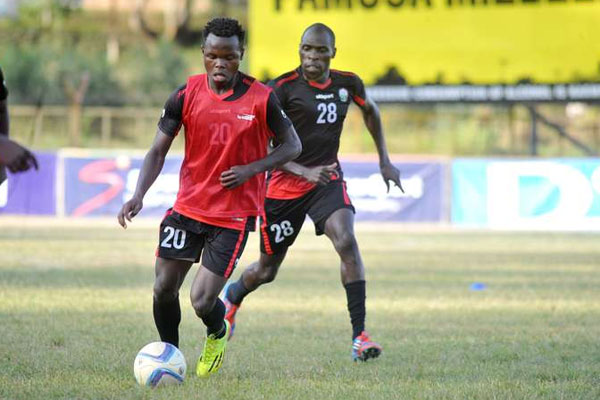 Amos Nondi and Joash Onyango of Western Stima training with the U20 team