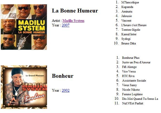 Madilu system discography bonheur