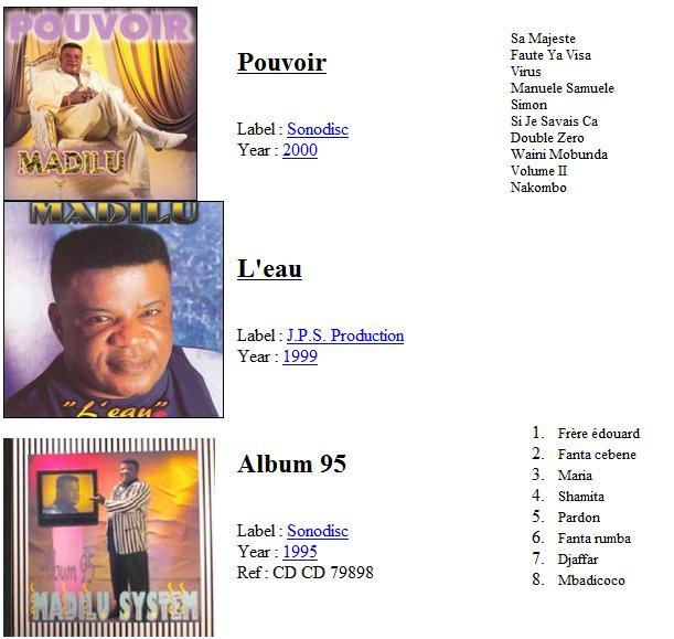 Madilu system discography pouvoir