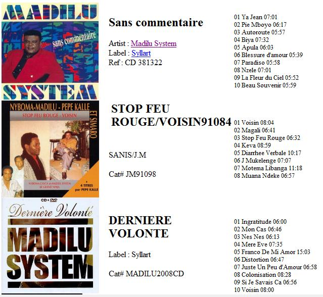 Madilu system discography sans commentaire