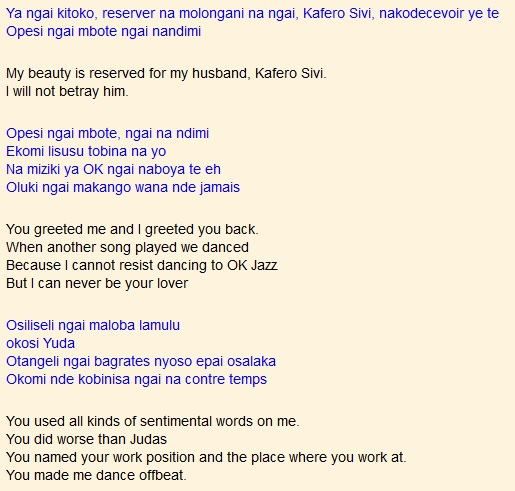 Bina na Ngai na respect by Dalienst and OK Jazz (translated) | Kenya