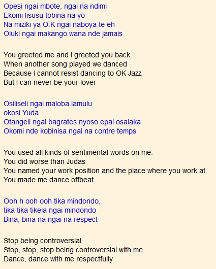 Bina na Ngai na respect by Dalienst and OK Jazz (translated) | Kenya
