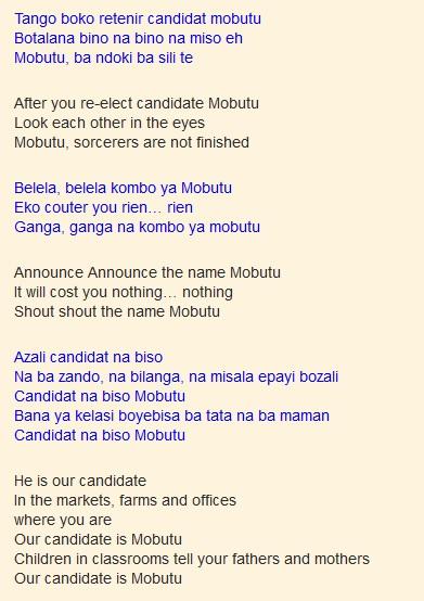 Candidat na biso Mobutu by Franco (Lyrics and Translation