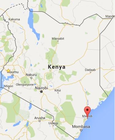 Location of Malindi Kenya