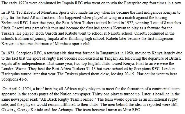 Miro RFC, Scorpions RFC Kenya, Impala RFC, Kenya Harlequins, Roma Olimpic rugby