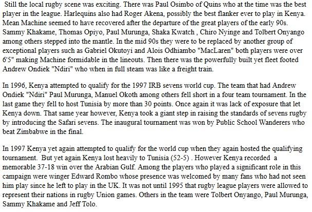 kenya rugby sevens 1997 world cup, Andrew Ondiek, Paul Murunga, Paul Osimbo, Roger Akena