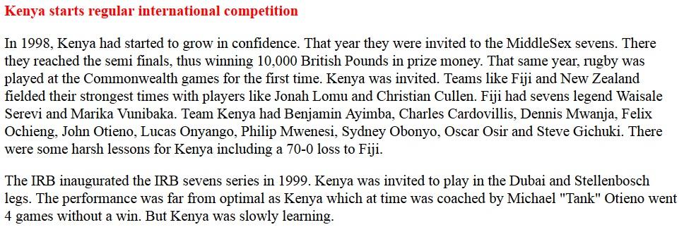 Kenya sevens starts regular competition