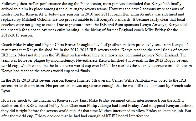 Kenya rugby sevens in the Michael Friday era