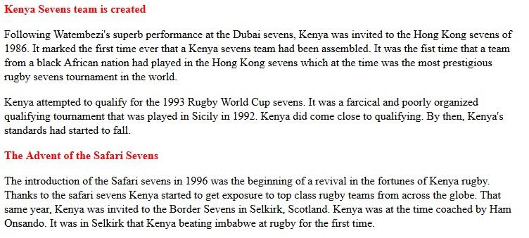 Kenya sevens team created