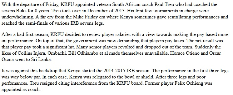 The Paul Treu era of Kenya sevens rugby