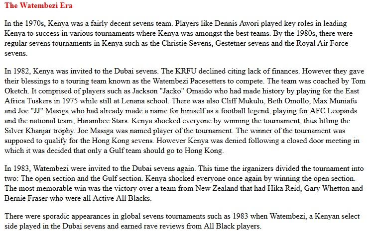 Kenya sevens watembezi era